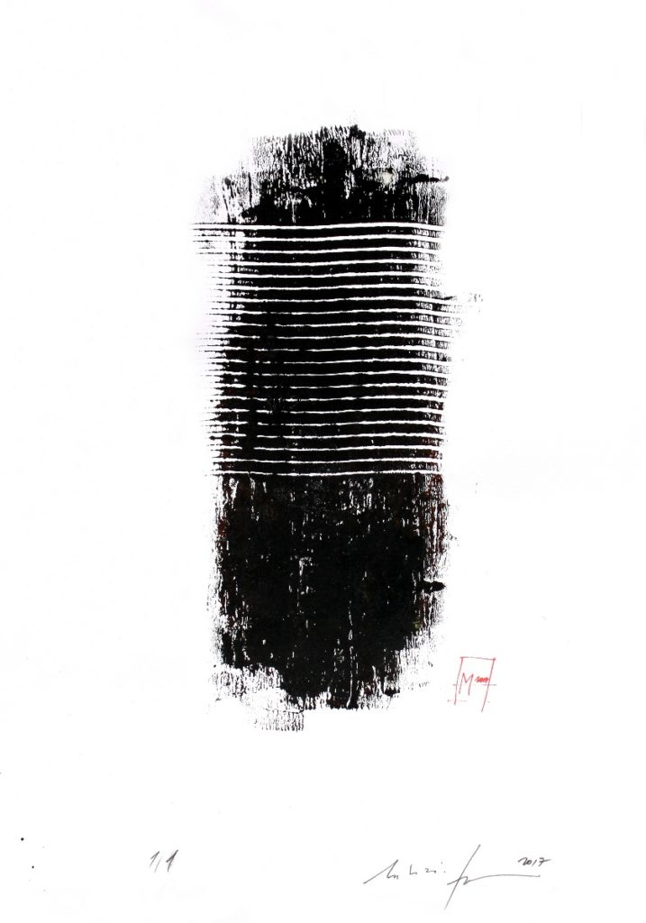 10 Ink energy  / Martin Iman, 2017 / Acrylic and calligraphy ink on 250g papier bouffant blanc / 42x60 / framed / signed in the back and the front / Avalaible for Sale
