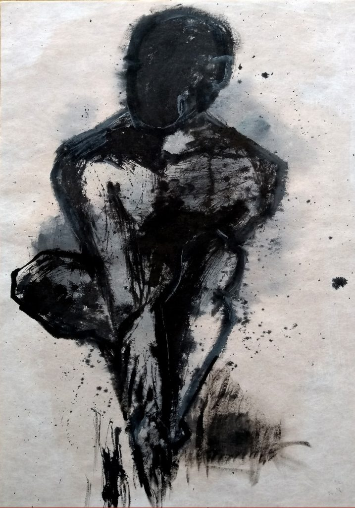 Man in black / Martin Iman, 2019 / Acrylic and calligraphic ink on handpapier / 100x70cm / Signet in the back and front / Avalaible for Sale