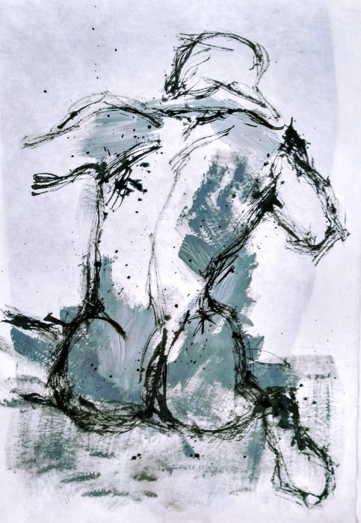 Man figure / Martin Iman, 2019 / Acrylic and calligraphic ink on handpapier / 100x70cm / Signet in the back and front / Avalaible for Sale